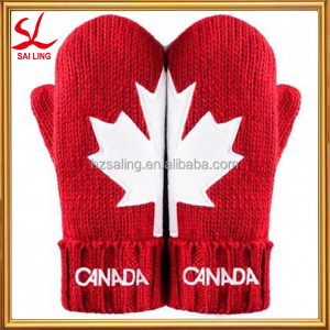 Canada Red Maple Leaf Mittens Acrylic Winter Knit Red Canada Mittens Style At Home