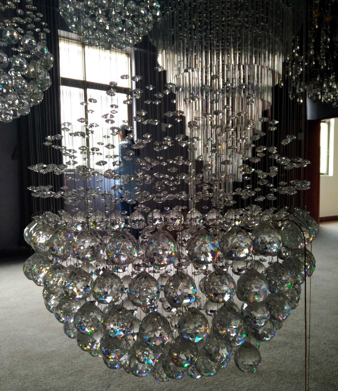 Project Custom Chandelier Hotel Lobby Modern Spiral Stairwell Crystal Lighting