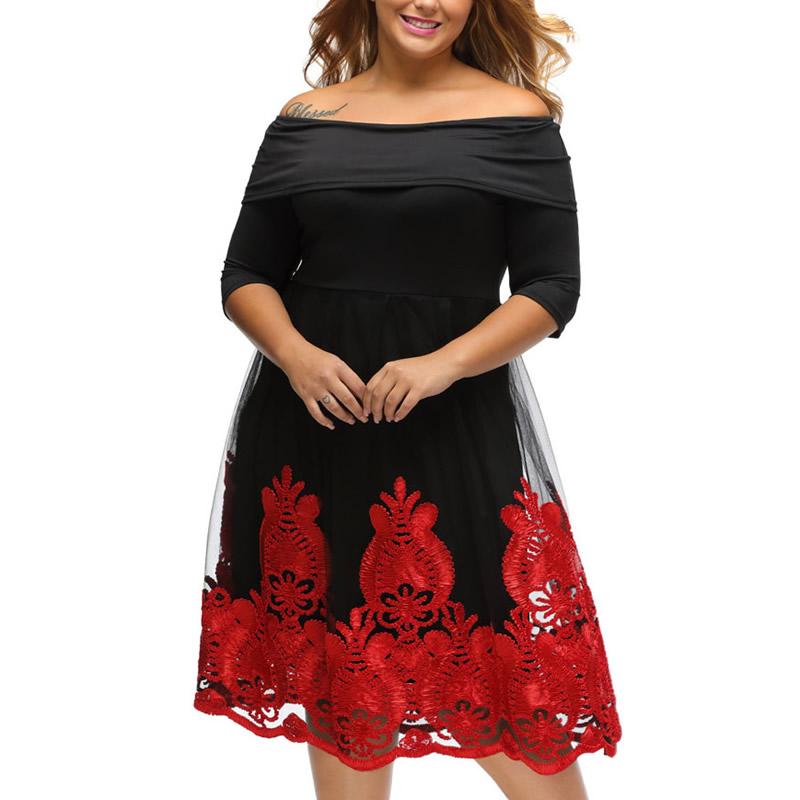 Plus Size Dress For Fat Women Beautiful Lady Fashion Christmas Ballroom Fashionable