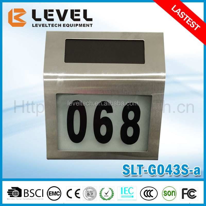 Stainless Steel LED House Number With Built In Solar Panel Led Door Light Number