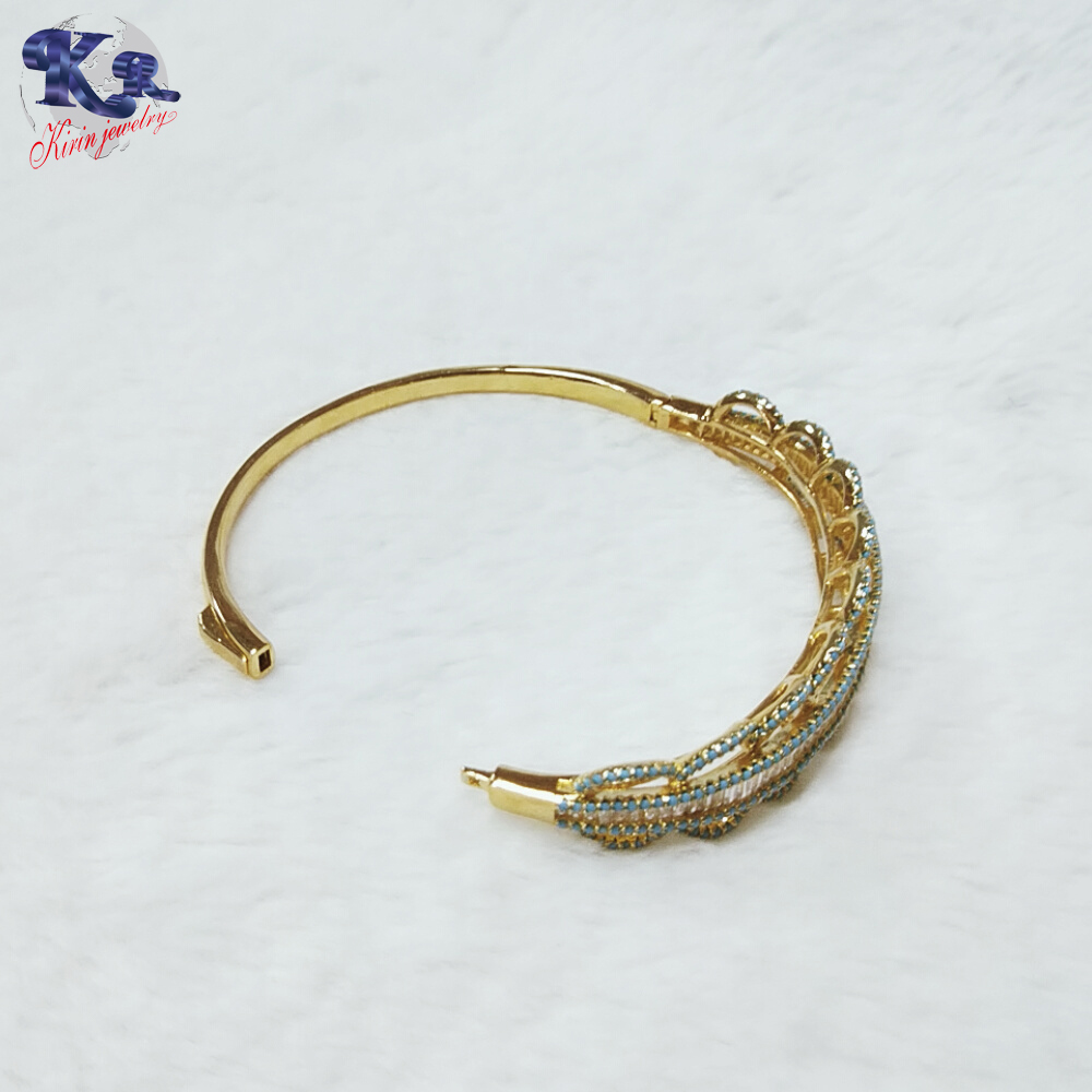 Fashion 925 sterling silver jewelry wholesale water ripple gold-plated bangle