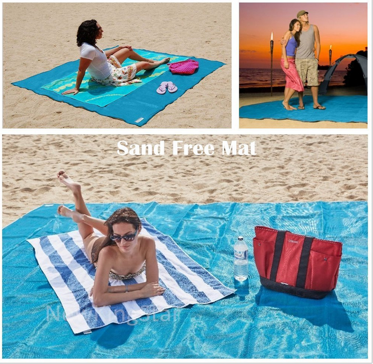 New Design HDPE double layers anti sand beachmat sand free beach blanket.