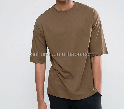 New Fashion Customized Brown Tee Half Sleeve Plain Collar Oversize Tshirt For Men