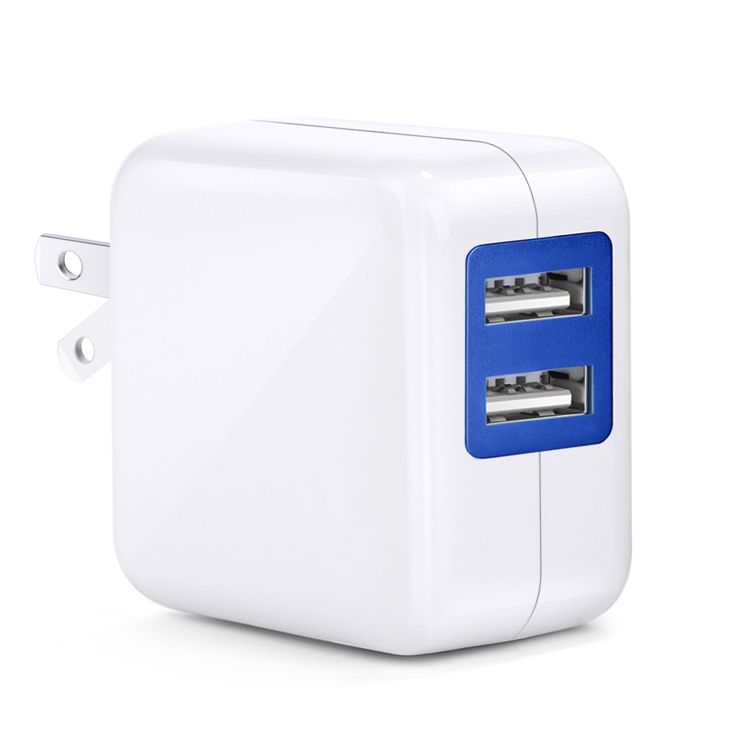 USB Wall Charger, Besgoods 2.5A 12W Portable Dual USB Travel Wall Charger Power Adapter with Folding Plug for iPhone 7 Plus SE 6s Plus, iPad Air Mini, Samsung, Android, HTC, Google Nexus, White