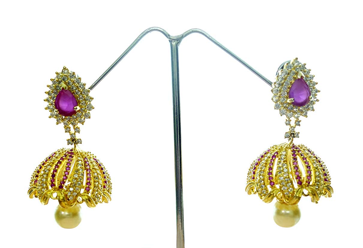HANDMADE DROP DANGLE FASHION BOLLYWOOD JHUMKA CHANDELIER EARRINGS SIMULATED PEARL AND RUBY GEMSTONE 22CT GOLD PLATED DESIGNER EARRINGS FOR WOMEN AND GIRLS