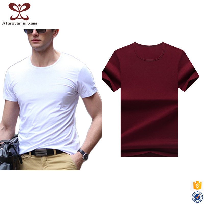 2017 Fashion Summer Pure Color Casual t shirts Slim Fit tee shirt Mercerized Cotton Short Sleeve t shirt