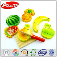 Educational toys for kids wooden Fruit& Vegetables Play Food Cutting Set