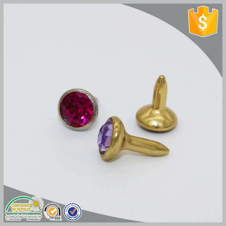 manufacturers nickle free crystal stone decoration rivets for leather