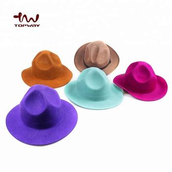 New Fashion Custom Plain Wool Felt Womens Fedora Hat With Round Brim ... cdbd59688ae
