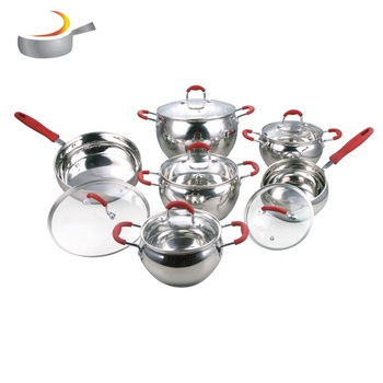 Popular elegant apple shape stainless steel stock pot casserole cookware set with red handle