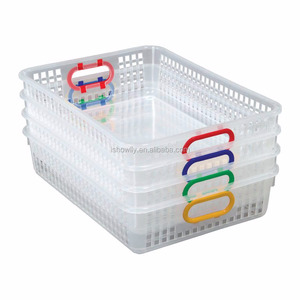 High Quality Clear Classroom Paper Baskets with Primary Color Handles Fashion Custom Plastic Mesh Baskets Storage Tidy Organizer