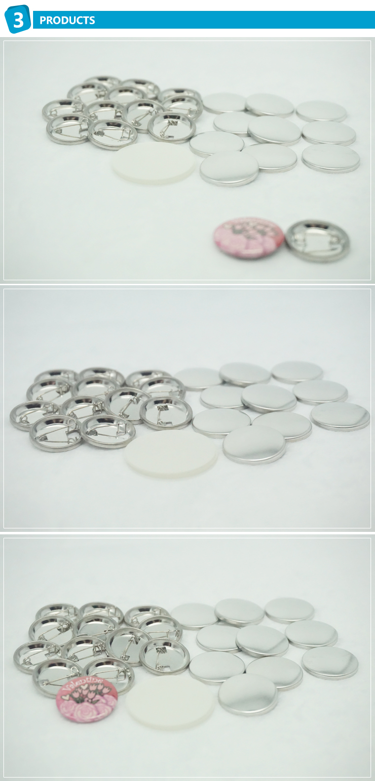China 58mm blank button badge wholesale pin button badge materials