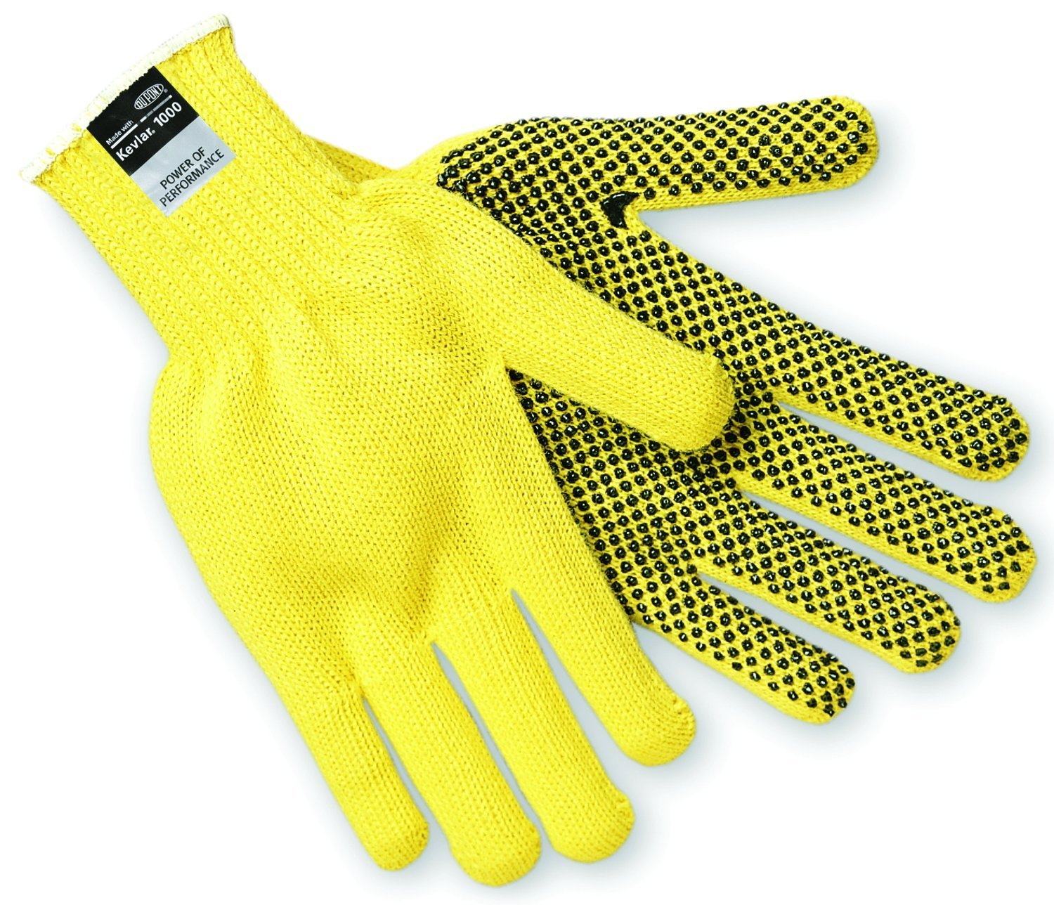 MCR Safety 9365S Kevlar Regular Weight 7 Gauge Dotted Gloves with PVC Dots On 1-Side, Yellow, Small, 1 Pair, 1-Pair