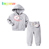Autumn spring baby clothes china long sleeve 100% cotton grey baby hooded cardigan