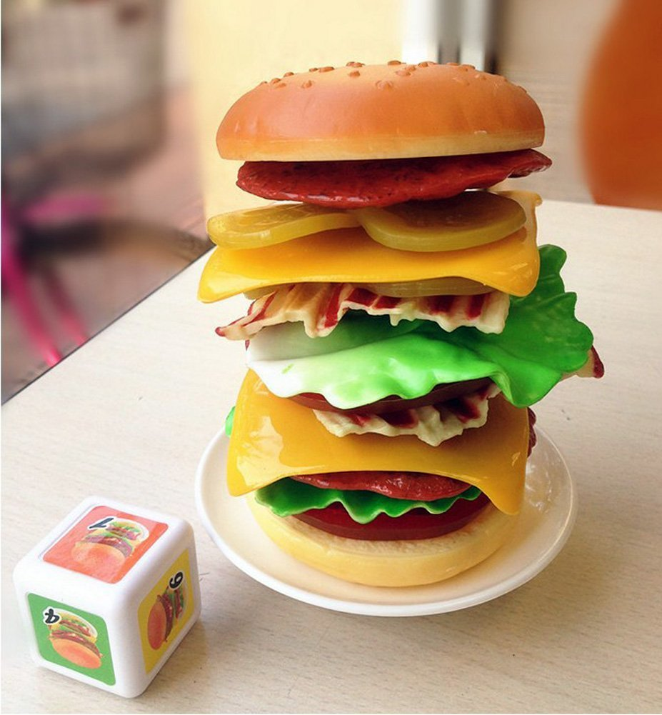 Yzakka Stacking Burger Family Games Kids Toys Hamburger Tower 14 pieces
