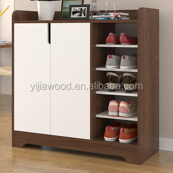 Shoe Rack With 2 Doors Wooden Cabinet Design
