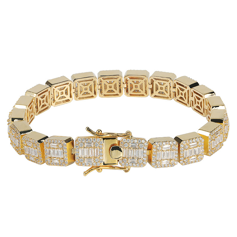 Ins Hot Sale Explosion Hiphop Iced Out AAA <strong>CZ</strong> Square Diamond <strong>Tennis</strong> <strong>Bracelet</strong> for Men