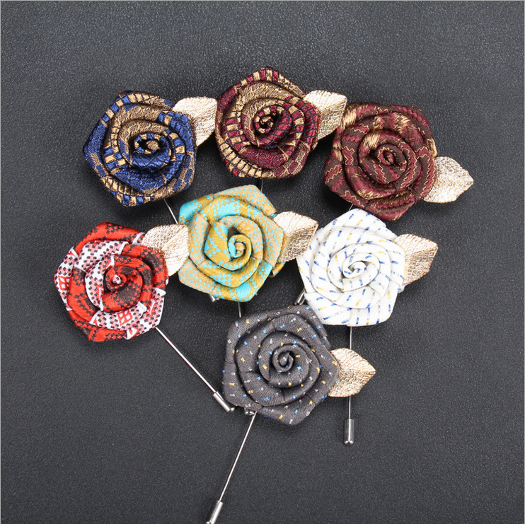 Fabric Brooch Pin Crafts Lapel Pins Flower Men for Wedding Suit