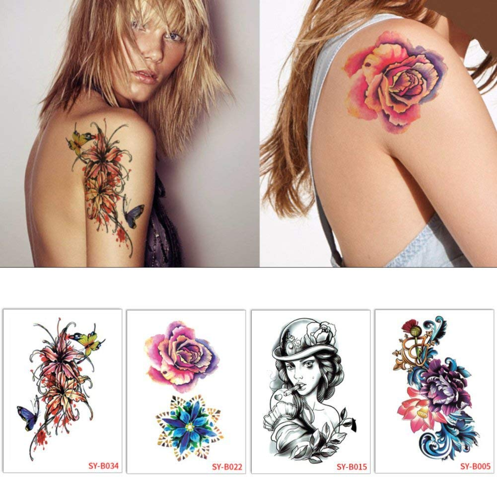 e20cc75c8 Get Quotations · Auch Set of 4 Large Temporary Tattoos for Womens, Sexy Temporary  Tattoo Body Art,