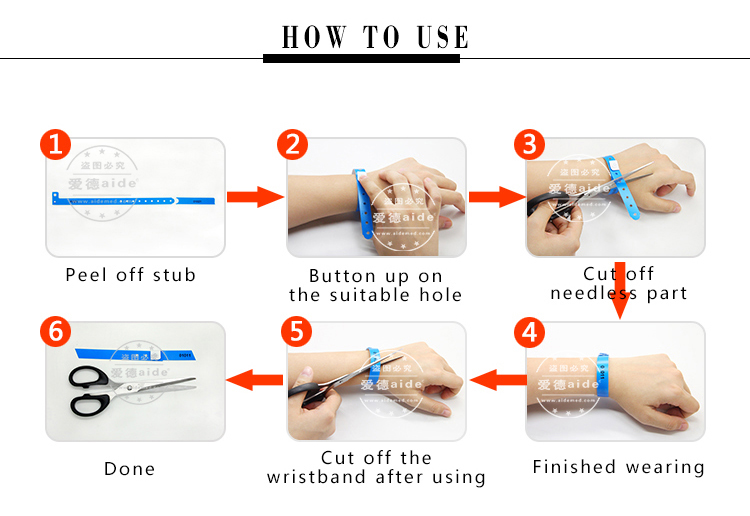 Waterproof Vinyl PVC Wrist band Plastic Snap