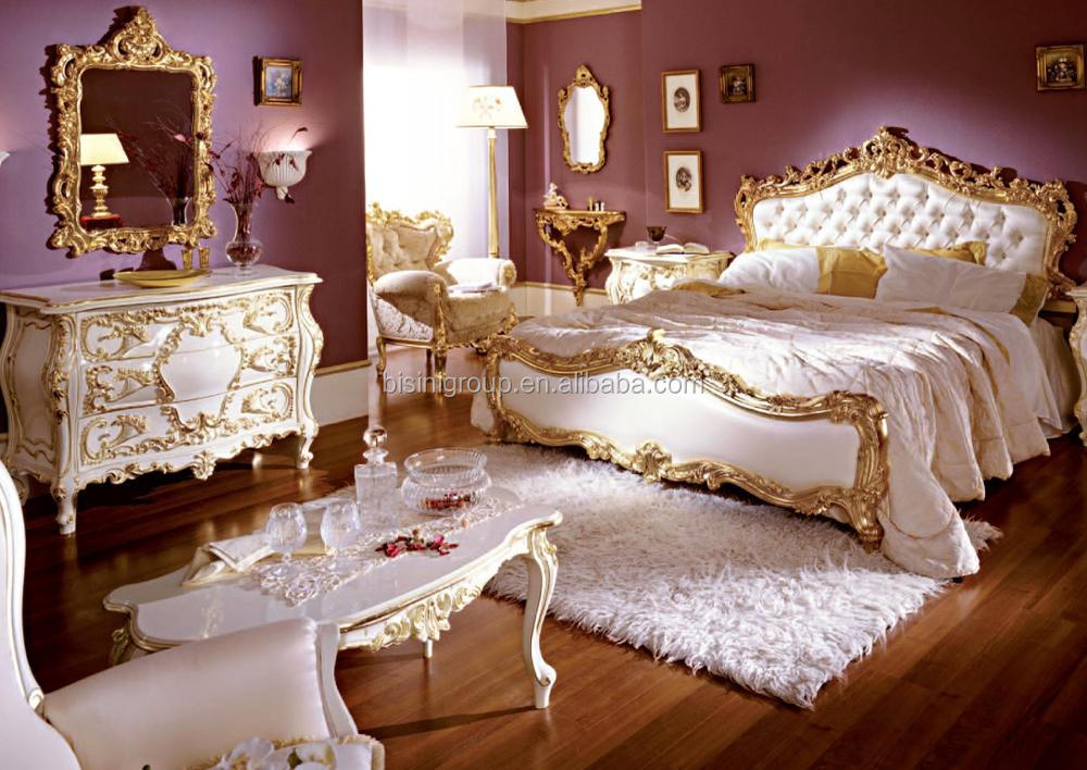Luxurious Elegant Rococo Designed Carving White and Golden Tufted Crown Bed with Nightstand and Dressing Table BF12-05254f