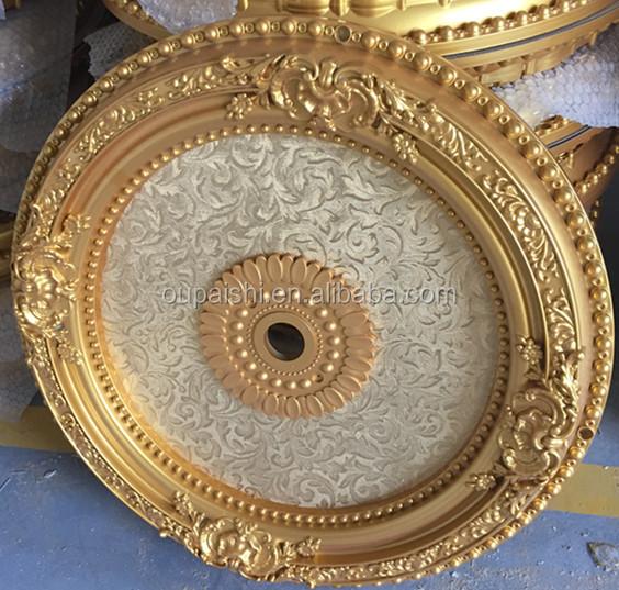 Gold round designs PS plastic artistic ceiling
