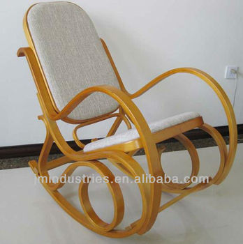 Antique Bentwood Rocking Chair With Fabric