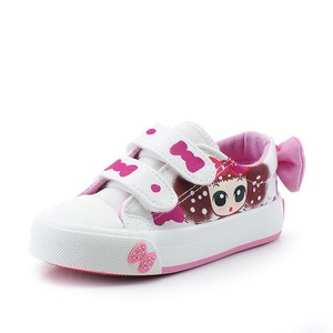 CV7005 2017 latest print picture wholesale girl kids white canvas shoes