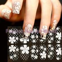 6 Sheets 3D White Pattern Nail Art Stickers Decals Polish Foils For Nail Tips Decortaion Styling