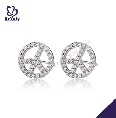 Elegant luxury eco-friendly wheel shape cz stud gl earrings