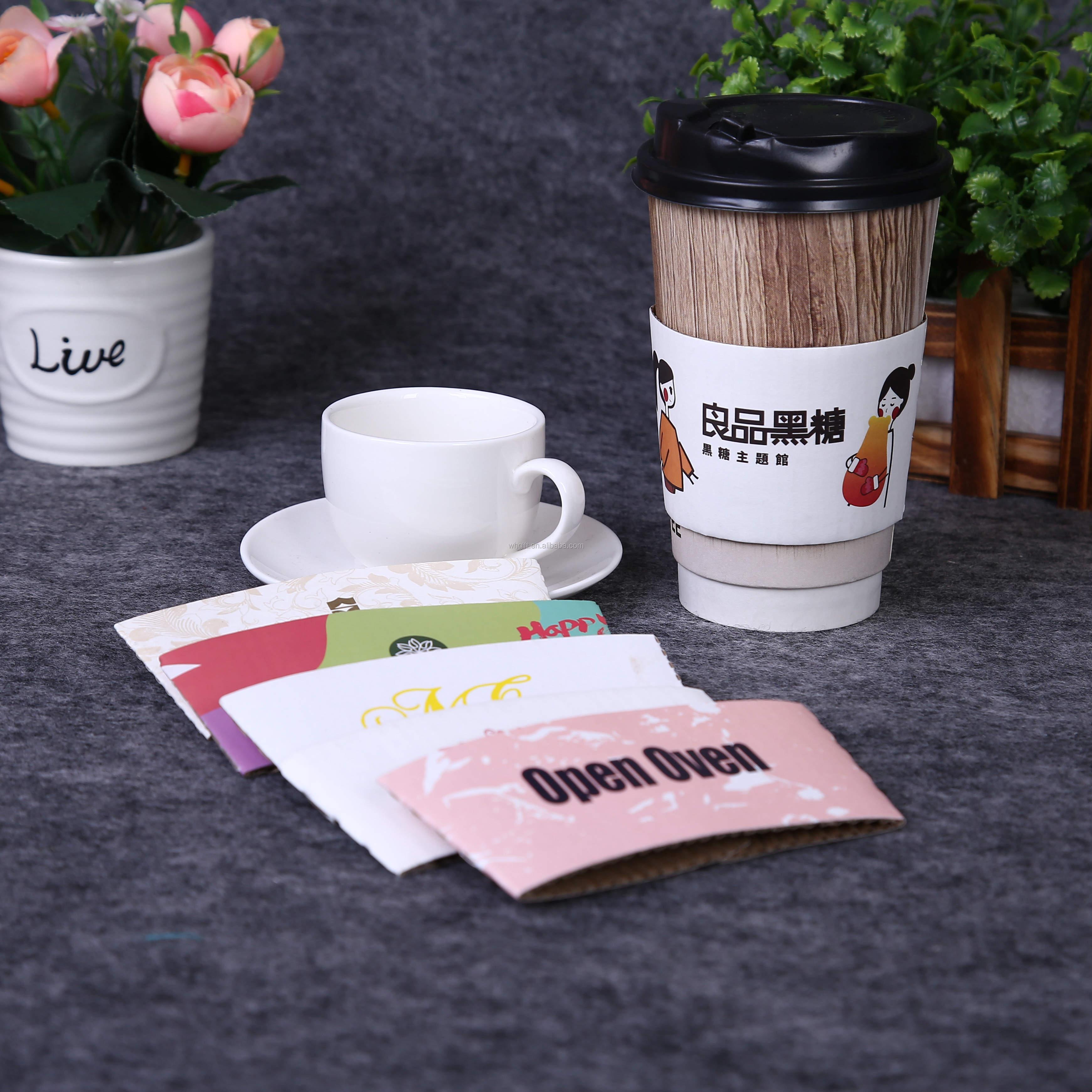 Desechables café caliente mangas biodegradable taza caliente de manga personalizado impreso taza manga