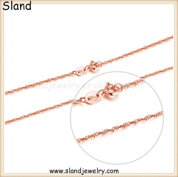 Amazon hot selling accessories jewelry rose gold plated S925 sterling silver twisted curb chain 16 &18 inch ,spring ring clasp