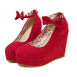 Hot selling elegant high platform high wedge ankle strap faux suede butterfly knot female sexy dress