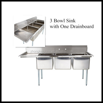 Triple Sink Commercial : Triple Bowl Freestanding Commercial Kitchen Sink With Left Drainboard ...