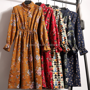 AL5016W Hot!!! autumn winter women casual dress elastic waist long sleeve floral printed 10 colors lady vintage dress