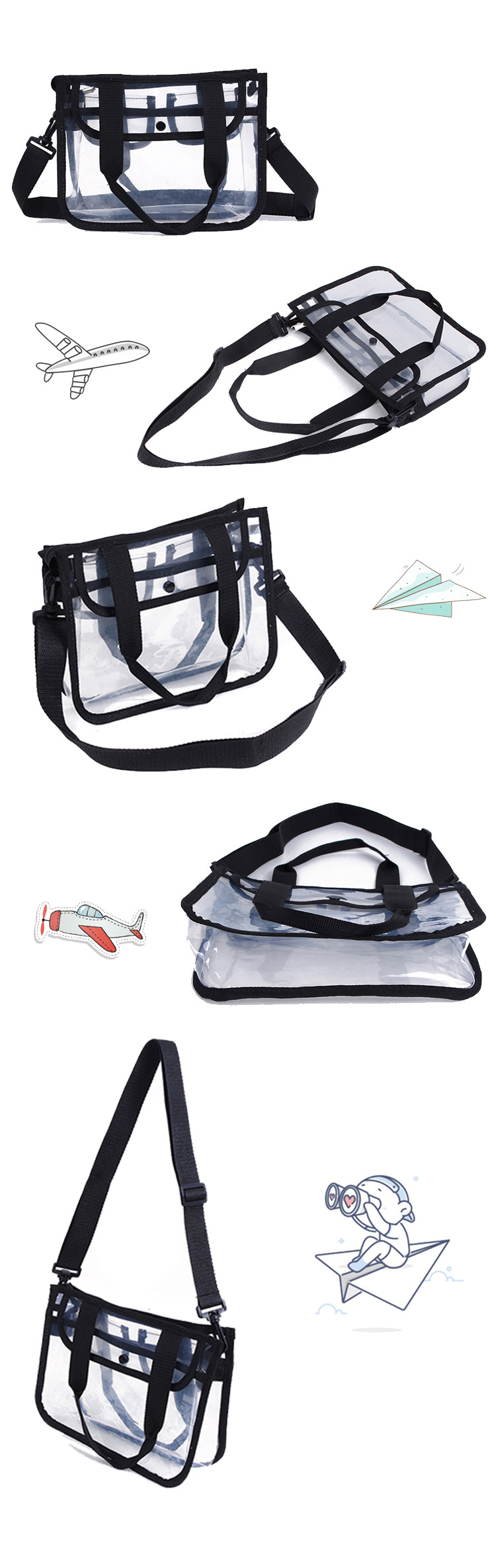 Expandable cheap China Carry on clear duffle clear vinyl travel cosmetic bag transparent travel bag