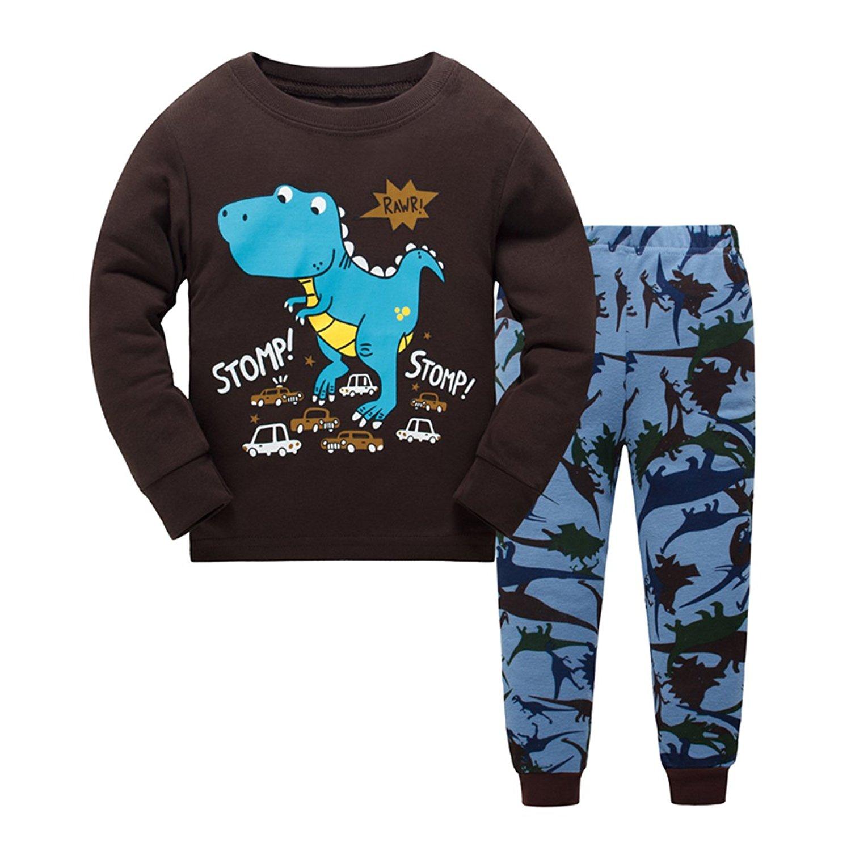 36577b8697d Get Quotations · Little Boys Pajamas Sets Dinosaur 2 Pieces Pajamas 100%  Cotton Toddler Kid Sleepwear Size 2T