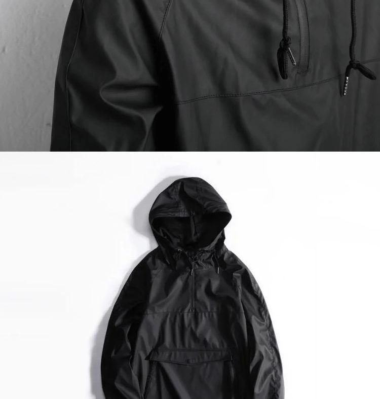 Sudadera de PU a la cadera para hombre, chaqueta