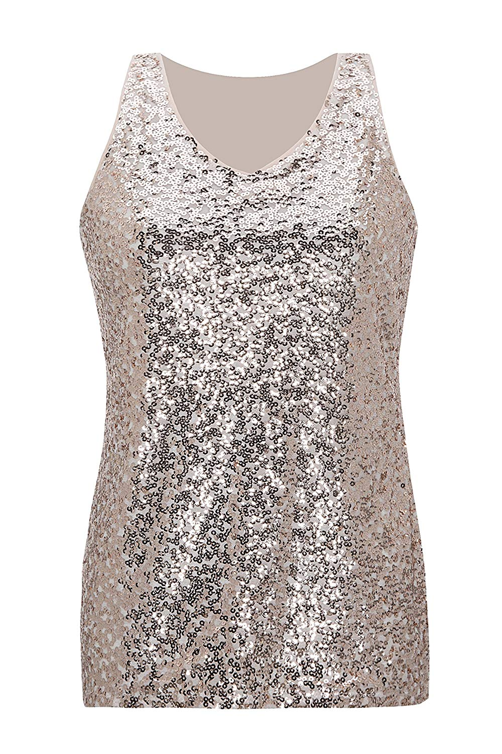 f84cbc87dfe Get Quotations · Metme Sleeveless Shirt V Neck Sequin Embellished  Close-Fitting Tank Tops Vest Tops