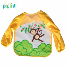 Unisex Infant Toddler Cartoon Design Waterproof Long Sleeve Feeding Bib