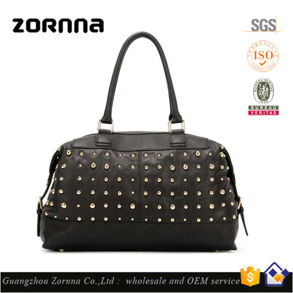 Fashion Famous Brand Women Genuine Leather Tote Shoulder Studs Bags Handbag for Ladies