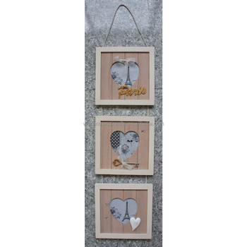 Wall Hanging Rope Contact Carved Heart Shape Three Pcs Wooden Photo ...