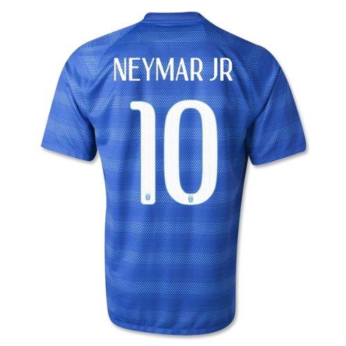 Nike Neymar Jr #10 Brazil Brasil 2014 FIFA World Cup Large Blue Away Soccer Jersey
