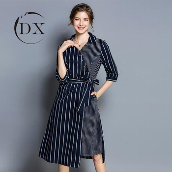 Western Style Woman Lady Office Career Striped Boutique Wrap Dress
