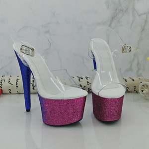 cb3c4261bd8 Sexy Exotic Dancer Shoes 1 Inch Pink Flowers For Wedding Crystal Shoes 10cm  High-Heeled Shoes Red Rose Platform Women Slippers