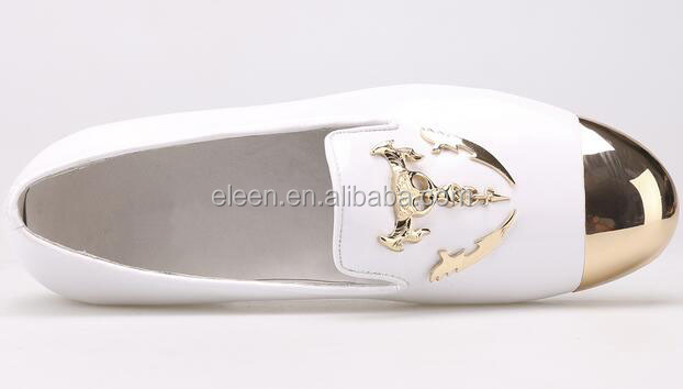 genuine leather men style 2016 toe shoes cap gold white loafers newest tnqZtI