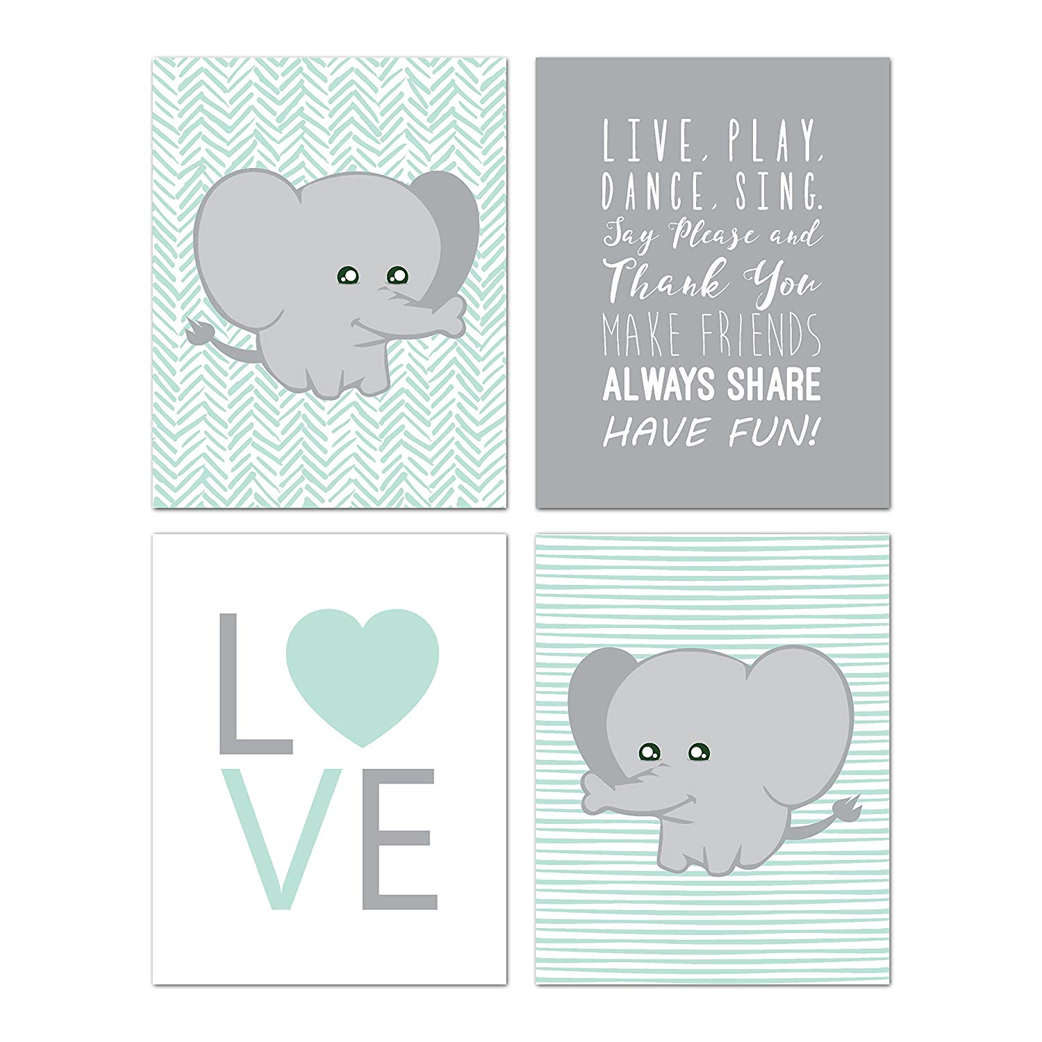 Get Quotations · Elephant Nursery Decor, Wall Decor For Kids, Wall Art For  Kids, Playroom Decor