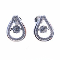 New Arrival 925 Sterling Silver Stud Dancing Diamond Earrings For Women Wholesale Dancing Stone Jewelry DR030861E-2.38g