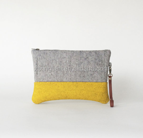 Wool Felt Clutch in Ash Gray and Yellow Ochre Zipper Clutch Felt Bag