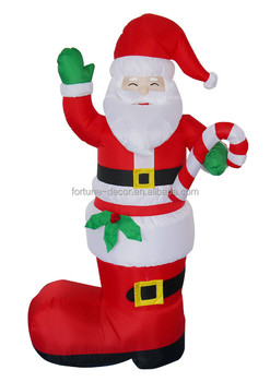 180cm High Christmas Inflatable Santa Claus With Big Red Christmas Stocking
